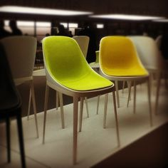 Neon Yellow Felt Chair Neon Room, Yellow Interior, Neon Yellow, Design Reference, Neon Colors, Color Schemes, Dining Chairs, Felt, House Design