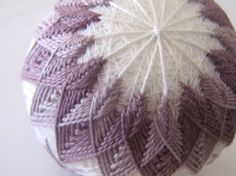 CLEARANCE - home decor decorative ball - hand embroidered - japanese temari thread ball - antique lavender - hostess gift - decorating idea