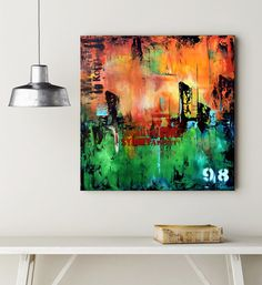 No 98 - Green and Orange Abstract urban art, Modern Painting, Original Wall Art Art Paintings, Original Paintings, Arts And Crafts House, Wall Art For Sale, Black And White Painting, Abstract Canvas Art, Urban Art, Abstract Landscape, Modern Art