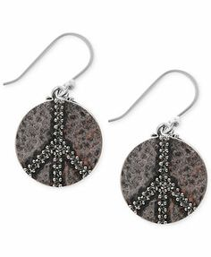 Lucky Brand Earrings, Silver-Tone Peace Sign Drop Earrings