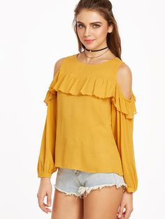 f26d9ece7ab7a4 DIDK Womens Tops and Blouses Long Sleeve Casual Blouse Yellow Cold Shoulder  Ruffle Trim Buttoned Cuff Crinkle Top