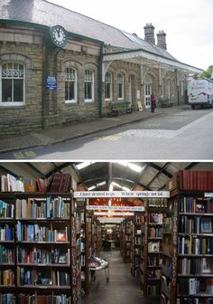 The excellent Barter Books in Alnwick, UK was converted from an old Victorian-era railway station, designed by William Bell, and has certainly kept the train theme alive, w/ a model railway linking the sections of books & open (engine?) fires in the winter to warm your toes as you read.