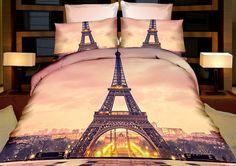 Paříž béžovo růžové ložní povlečení s Eiffelovou věží