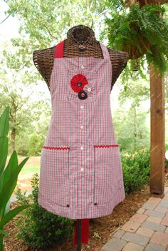 Red/Black/White Plaid Upcycled Dress Shirt Apron by Lauraila, $19.00