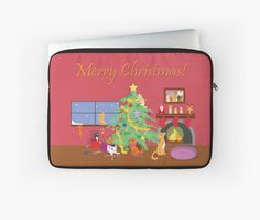 Kittens' First Christmas Laptop Sleeve #kittens #cats #christmas #holidays #family