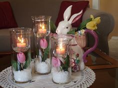 Easter candle idea... Love the flowers breaking away from the winter snow.
