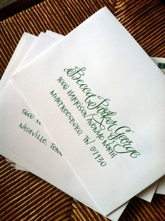 Bright Green calligraphy envelopes :: Mixed Styles - Harper & Ford    www.hardinkcalligraphy.com