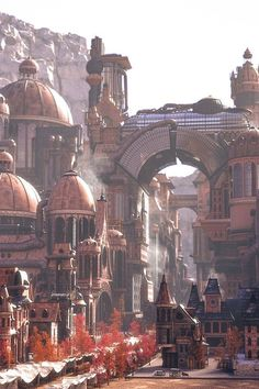"""Today's is on Hyungrok Kim's """"Steampunk City,"""" made using and See more on Fantasy City, Fantasy Places, Fantasy World, Fantasy Art Landscapes, Fantasy Landscape, Landscape Art, Steampunk City, Steampunk Design, Environment Concept Art"""