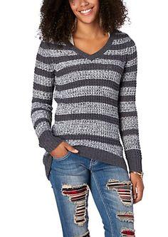image+of+Charcoal+Stripe+Boyfriend+Waffle+Sweater