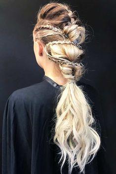Mohawk Braids Lagertha Low Pony Hairstyles #braids #ponytail