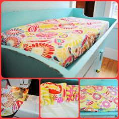 DIY changing pad cover. This one is pretty easy sewing with elastic. I especially love the aqua changing table!