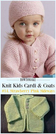 Strawberry Pink Sideways Cardigan Free Knitting Pattern – Kids … - Knitting Projects for Kids Baby Cardigan Knitting Pattern Free, Kids Knitting Patterns, Baby Sweater Patterns, Knitted Baby Cardigan, Knit Baby Sweaters, Knitted Baby Clothes, Baby Clothes Patterns, Baby Hats Knitting, Knitting For Kids