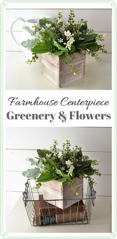 Rustic Greenery & Flowers Farmhouse Style Centerpiece--This farmhouse style rustic greenery & flowers centerpiece is overflowing with charm. The rustic wooden box is bursting with white flower blossoms. Nestled at the base of the greens and flowers is clumps of green, preserved reindeer moss. The wooden box has a whitewashed, weathered look. #affiliate #farmhousestyle #homedecor #centerpieces #rustic #rusticdecor