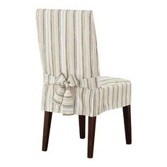 Sure Fit Harbor Stripe Dining Room Chair Cover Brown Multi Solid