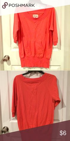 Shirt Coral colored sweatshirt like material. Pocket in front. Sleeves come to elbow Energie Tops