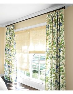 Drapery with Natural Woven Waterfall Shades. This is the fabric I put in the front bedroom.