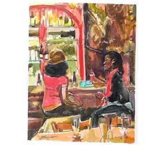 Original Watercolor Brooklyn Ft. Greene Painting Two African American by Gwen Meyerson, $250.00