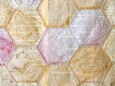Tea bags hand stitched over dictionary pages - by art in red wagons