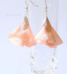 Bride's earrings silver leaf peach or coral by ArtEraBridalVeil, $30.00