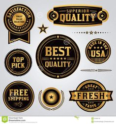 Quality Assurance Labels and Badges Set Royalty Free Stock Photos