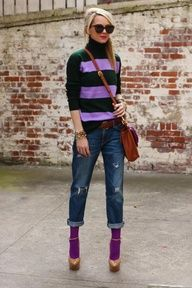 Bright tights w/ boyfriend jeans...