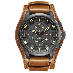 Cool Watches: Discount This Month Curren 8225 Army Military Quartz Mens Watches Top Brand Luxury Leather Men Watch Casual Sport Male Clock Watch Relogio Masculino Stylish Watches, Casual Watches, Luxury Watches, Cool Watches, Rolex Watches, Watches For Men, Wrist Watches, Army Watches, Sport Chic