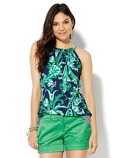 Shop 7th Avenue Design Studio - Ruffled Halter Blouse - Print . Find your perfect size online at the best price at New York & Company.