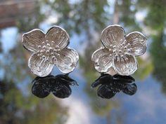 Lrg. Tiffany & Co Sterling Silver Dogwood Pattern Flower Earrings