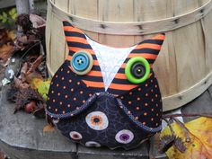 Creepy cute stuffed owl, striped owl pillow, great gift for office, unique home decor, macabre, Halloween owl decoration, owl decor