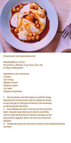 Citroenkwark met hazelnootkaramel, recept uit de Foodies mei 2014.