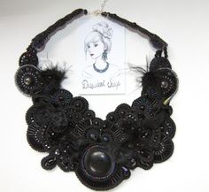 Sea Urchin - Collier plastron haute couture façon Oursin by dissident sheep - hand embroidered beaded necklace bib