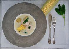 Crème de saumon au maïs et basilic Vegetable Stock, Dressing, Salmon