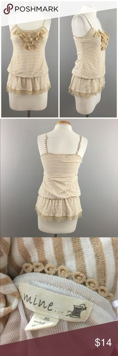 """Mine Anthropologie Cream White Striped Ruffle Tank Mine Anthropologie Cream White Striped Ruffle Tank. Size small. Thank you for looking at my listing. Please feel free to comment with any questions (no trades/modeling).  •Fabric: Cotton Polyester Blend  •Bust: 34""""-38"""" •Condition:  GUC, no visible flaws.   25% off all Bundles or 3+ items! Reasonable offers welcome. mine Tops Tank Tops"""