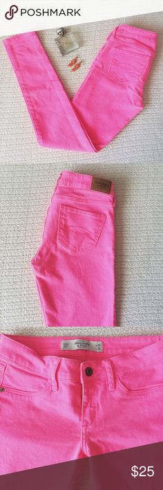 Abercrombie Hot Pink Super Skinny Jeans Bright neon pink super skinny jeans from Abercrombie. Perfect with a black top and heels! Barely worn, color is very vibrant. Size 00 Abercrombie & Fitch Jeans Skinny