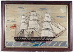 Large Sailor's Woolwork Picture of a Ship- HMS Hero. - Earle D. Royal Navy Frigates, Visiting Niagara Falls, King Edward Vii, Piero Fornasetti, Merchant Navy, Canadian Travel, Rare Images, Royal Marines