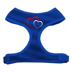 Mirage Pet Products Double Heart Design Soft Mesh Dog Harnesses, Large, Blue * Click image for more details.