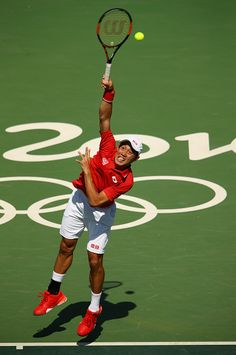 #RIO2016 Best of Day 1 - Kei Nishikori of Japan serves against Albert RamosVinolas of Spain in their first round match on Day 1 of the Rio 2016 Olympic Games at the Olympic...