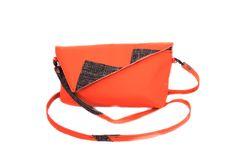 50% off Orange clutch bag Custom clutch Credit card bag Orange and brown clutch crossbody purse (30.00 EUR) by meerrorart