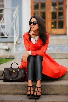 Annabelle Fleur: Orange Flair coat. Street style