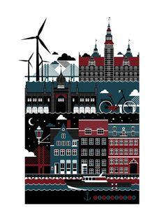Poster (Copenhagen, København, Danmark, Danish, Denmark, travel, Europe, city, capital, visit, beautiful)