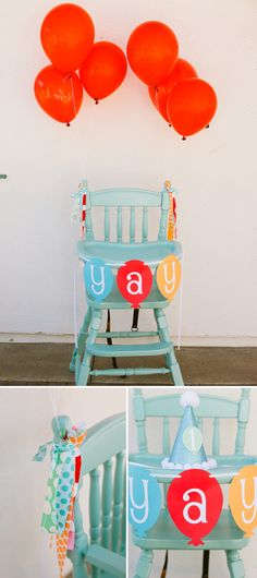 "Love the ""yay"" banner and I may need to find an old wooden high chair to paint... that would be amazing!"
