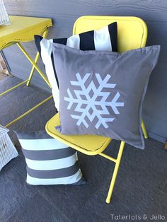 Winter Decorating with Snowflakes. Popsicle stick snowflakes and snowflake pillows. -- Tatertots and Jello