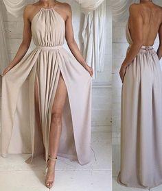 prom dresses,simple a-line backless chiffon long prom dresses, formal dresses,sexy prom dress,long prom dress