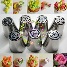 Tulip Flower Cake Icing Piping Nozzles Decorating Tips Baking Tools 7 Pcs/Set Creative Cake Decorating, Creative Cakes, Decorating Supplies, Bolo Diy, Icing Tools, Russian Piping Tips, Icing Nozzles, Cake Piping, Icing Flowers