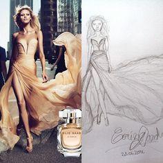 Elie Saab-The Perfume and my sketch