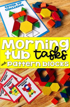Morning tubs are a hands on alternative to morning work. Your Kindergarten, first grade and second grade students will love using pattern blocks to complete each of 5 different morning tub tasks and you will love that you don't have papers to grade. Kindergarten First Week, Kindergarten Morning Work, Kindergarten Centers, Math Centers, Kindergarten Schedule, Preschool Projects, Preschool Curriculum, Kindergarten Classroom, Activities For Kids