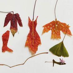 "Ruby Silvious on Instagram: ""Fall Foliage Fashion"" Autumn Art, Leaf Art, Printmaking, Stencils, Recycling, Drawings, Fall, Sketch Drawing, Drawing Art"