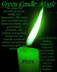 Green Candle Magic ~ I love my green sage candles. Magick Spells, Candle Spells, Magick Book, Healing Spells, Perfume Diesel, Color Magic, Green Magic, Color Meanings, Candle Magic