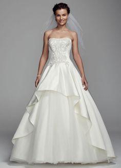 Oleg Cassini Satin Metallic Detaile Wedding Dress - Ivory, 10