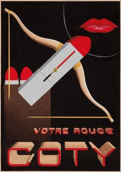 Vintage Advertising Posters Coty lipstick in red.